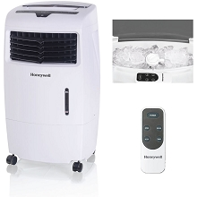 Honeywell 500-694 CFM Indoor Evaporative Air Cooler (Swamp Cooler) with Remote Control in White - CL25AE