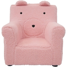 Critter Sitters 20-In. Plush Pink Bear Animal Shaped Mini Chair - Furniture for Nursery, Bedroom, Playroom, and Living Room Decor, CSBRCHR-PNK