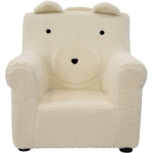 Critter Sitters 20-In. Plush White Bear Animal Shaped Mini Chair - Furniture for Nursery, Bedroom, Playroom, and Living Room Decor, CSBRCHR-WHT