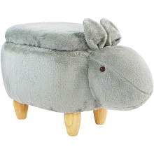 Critter Sitters 15-In. Seat Height Gray Easter Bunny Animal Shape Storage Ottoman Furniture for Nursery, Bedroom, Playroom, Living Room Decor, CSBUNSTOTT-GRY