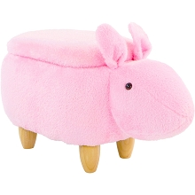 Critter Sitters 15-In. Seat Height Pink Easter Bunny Animal Shape Storage Ottoman Furniture for Nursery, Bedroom, Playroom, Living Room Decor, CSBUNSTOTT-PNK