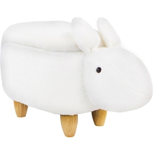 Critter Sitters 15-In Seat Height White Easter Bunny Animal Shape Storage Ottoman Furniture for Nursery, Bedroom, Playroom, Living Room Decor, CSBUNSTOTT-WHT