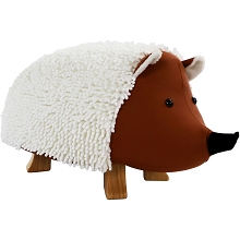 Critter Sitters 16-In Seat Height Plush Hedgehog Animal Shape Ottoman Furniture for Nursery, Bedroom, Playroom, and Living Room Decor, CSHEDGOTT-TAN