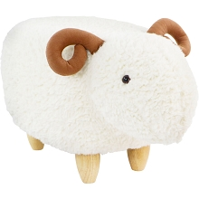 Critter Sitters 14-In. Seat Height Plush White Ram Animal Shape Ottoman - Furniture for Nursery, Bedroom, Playroom, and Living Room Decor, CSRAMOTT-WHT