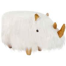 Critter Sitters 14-In. Seat Height Woolly White Rhino Animal Shape Ottoman - Furniture for Nursery, Bedroom, Playroom, and Living Room Decor, CSRHIOTT-WHT