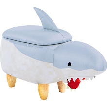 Critter Sitters 15-In. Seat Height Blue-White Shark Animal Shape Storage Ottoman Furniture for Nursery, Bedroom, Playroom, Living Room Decor, CSSHKSTOTT-BLUWHT
