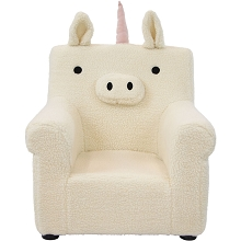 Critter Sitters 20-In. Plush White Unicorn Animal Shaped Mini Chair - Furniture for Nursery, Bedroom, Playroom, and Living Room Decor, CSUNICHR-WHT