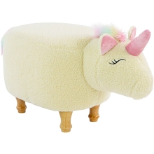 Critter Sitters 15-In. Seat Height Plush White Unicorn Animal Shape Ottoman - Furniture for Nursery, Bedroom, Playroom, and Living Room Decor, CSUNIOTT-WHT