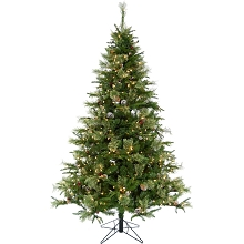 Christmas Time 7.5-Ft Berkshire Pine Green Prelit Christmas Tree with Pinecones, EZ Connect Warm White LED Lights and Metal Stand, CT-BP075-LED