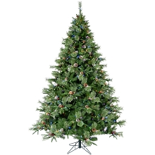 Christmas Time 7.5-Ft Berkshire Pine Green Prelit Christmas Tree with Pinecones, EZ Connect Multi-Color LED Lights and Metal Stand, CT-BP075-ML