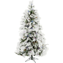 Christmas Time 6.5-Ft. Frosted Fir Snowy Artificial Christmas Tree with Multi-Color LED String Lighting and Holiday Soundtrack - CT-FF065-ML