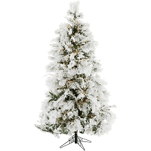 Christmas Time 6.5-Ft. Frosted Fir Snowy Artificial Christmas Tree with Clear Smart String Lighting - CT-FF065-SL