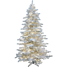 Christmas Time 7.5-Ft Silverado Pine White Flocked Slim Christmas Tree with EZ Connect 8-Function Multi-Color LED Lights, CT-SV075-MLFL