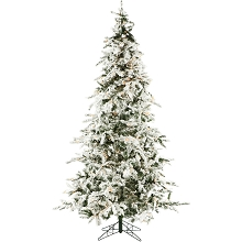 Christmas Time 7.5-Ft. White Pine Snowy Artificial Christmas Tree with Clear LED String Lighting - CT-WP075-LED