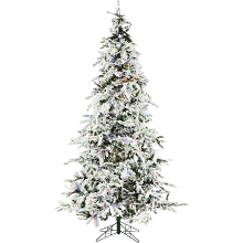 Christmas Time 7.5-Ft. White Pine Snowy Artificial Christmas Tree with Multi-Color LED String Lighting and Holiday Soundtrack - CT-WP075-ML
