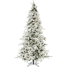 Christmas Time 7.5-Ft. White Pine Snowy Artificial Christmas Tree with Clear Smart String Lighting - CT-WP075-SL