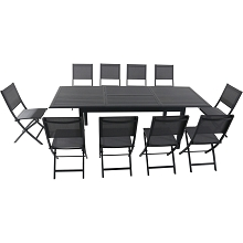 Hanover Dawson 11-Piece Dining Set with 10 Folding Sling Chairs and an Expandable 40