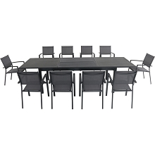 Hanover Dawson 11-Piece Dining Set with 10 Sling Chairs and an Expandable 40