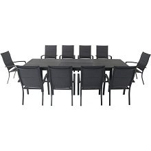 Hanover Dawson 11-Piece Dining Set with 10 Padded Sling Chairs and an Expandable 40