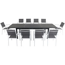 Hanover Dawson 11-Piece Dining Set with 10 Sling Chairs in Gray/White and an Expandable 40
