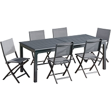 Hanover Dawson 7-Piece Dining Set with 6 Folding Sling Chairs and an Expandable 40
