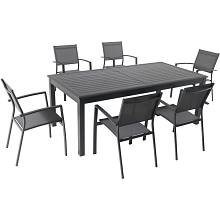 Hanover Dawson 7-Piece Dining Set with 6 Sling Chairs and an Expandable 40