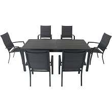 Hanover Dawson 7-Piece Dining Set with 6 Padded Sling Chairs and an Expandable 40