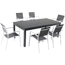Hanover Dawson 7-Piece Dining Set with 6 Sling Chairs in Gray/White and an Expandable 40