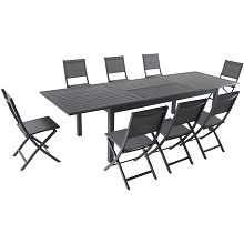 Hanover Dawson 9-Piece Dining Set with 8 Folding Sling Chairs and an Expandable 40
