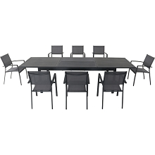 Hanover Dawson 9-Piece Dining Set with 8 Sling Chairs and an Expandable 40