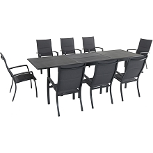 Hanover Dawson 9-Piece Dining Set with 8 Padded Sling Chairs and an Expandable 40