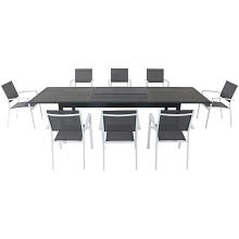 Hanover Dawson 9-Piece Dining Set with 8 Sling Chairs in Gray/White and an Expandable 40