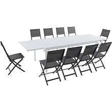 Hanover Del Mar 11-Piece Outdoor Dining Set with 10 Folding Sling Chairs in Gray and a White 40