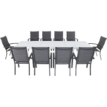 Hanover Del Mar 11-Piece Outdoor Dining Set with 10 Padded Sling Chairs in Gray and a 40