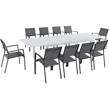 Hanover Del Mar 11-Piece Outdoor Dining Set with 10 Sling Chairs in Gray and a 40