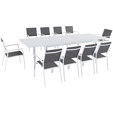 Hanover Del Mar 11-Piece Outdoor Dining Set with 10 Sling Chairs in Gray/White and a 40