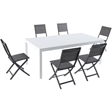 Hanover Del Mar 7-Piece Outdoor Dining Set with 6 Folding Sling Chairs in Gray and a White 40