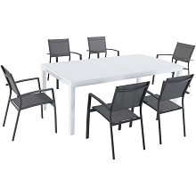 Hanover Del Mar 7-Piece Outdoor Dining Set with 6 Sling Chairs in Gray and a 40