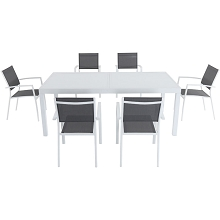 Hanover Del Mar 7-Piece Outdoor Dining Set with 6 Sling Chairs in Gray/White and a 40