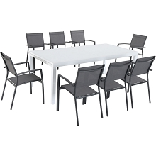 Hanover Del Mar 9-Piece Outdoor Dining Set with 8 Sling Chairs in Gray and a 40