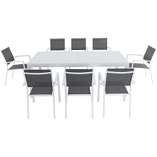 Hanover Del Mar 9-Piece Outdoor Dining Set with 8 Sling Chairs in Gray/White and a 40