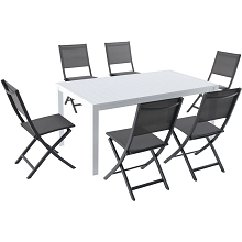 Hanover Del Mar 7-Piece Outdoor Dining Set with 6 Sling Folding Chairs in Gray and a 78