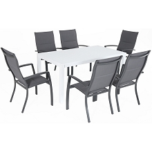 Hanover Del Mar 7-Piece Outdoor Dining Set with 6 Padded Sling Chairs in Gray and a 78