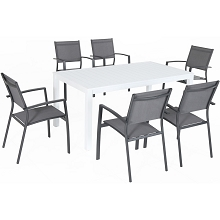 Hanover Del Mar 7-Piece Outdoor Dining Set with 6 Sling Chairs in Gray and a 78