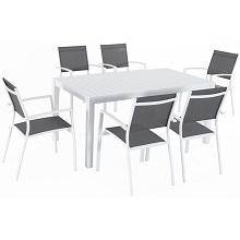 Hanover Del Mar 7-Piece Outdoor Dining Set with 6 Sling Chairs in Gray/White and a 78