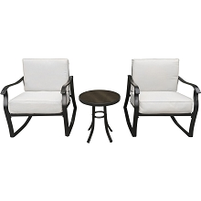 Hanover Denver 3-Piece Bistro Set with 2 Cushioned Rocker Chairs and Glass Top Side Table, DEN3PC-TAN