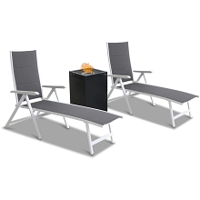 Mod Furniture Everson 3-Piece Modern Outdoor Fire Pit Set with 2 Padded Grey Sling Chaise Lounge Chairs & 40,000 BTU Gas Fire Pit, EVERCHS3PCGFP-WG