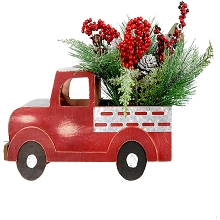 Fraser Hill Farm 20-inch Christmas Farmhouse Truck with Pine, Berries, and Pinecones, FF020CHTT001-0RED