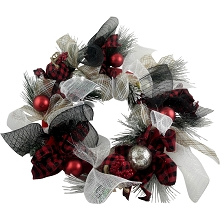 Fraser Hill Farm 20-In. Ribbon Wreath Door Hanging with Shatterproof Ornaments and Buffalo Plaid Bows, FF020CHWR002-0MLT