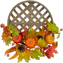 Fraser Hill Farm 22-inch Fall Harvest Wreath Door Hanging with Pumpkins and Pine Cones in a Classic Tobacco Basket, FF022HVWR001-0MLT
